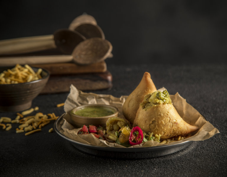 Vegetarian Samosa with Mango Chatni